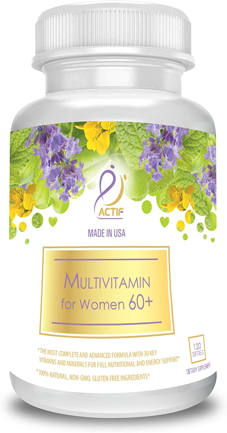 Actif Organic Multivitamin for Women Age 60 with 30 Organic Vitamins and Organic Herbs, Non-GMO, Made in USA, 120 count
