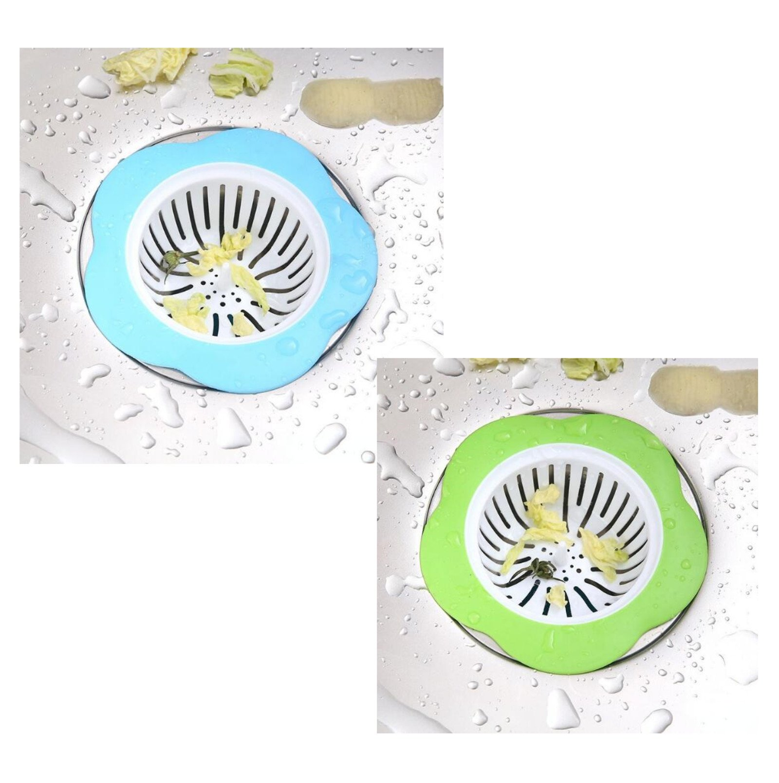Flower Shaped Silicone Sink Strainer,Large Wide Rim 4.33'' Diameter, Fits Most Kitchen, Bathroom, Laundry Pool/2 PCS by MEIFU