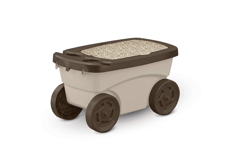Suncast Outdoor Rolling Garden Scooter - Durable Plastic Portable Garden Seat Rolls in Grass and Dirt - Carries Garden Supplies