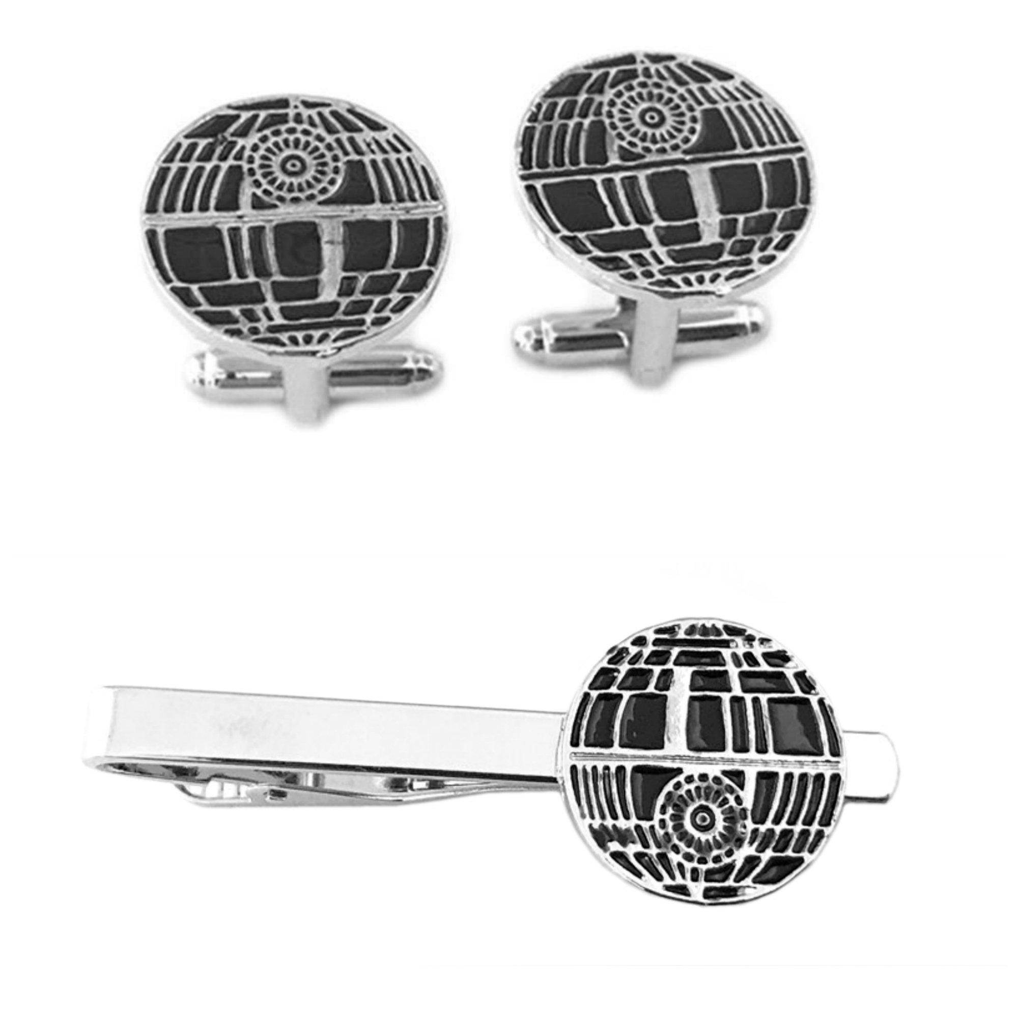Outlander Death Star Cufflink & Tiebar - New 2018 Star Wars Movies - Set of 2 Wedding Logo w/Gift Box