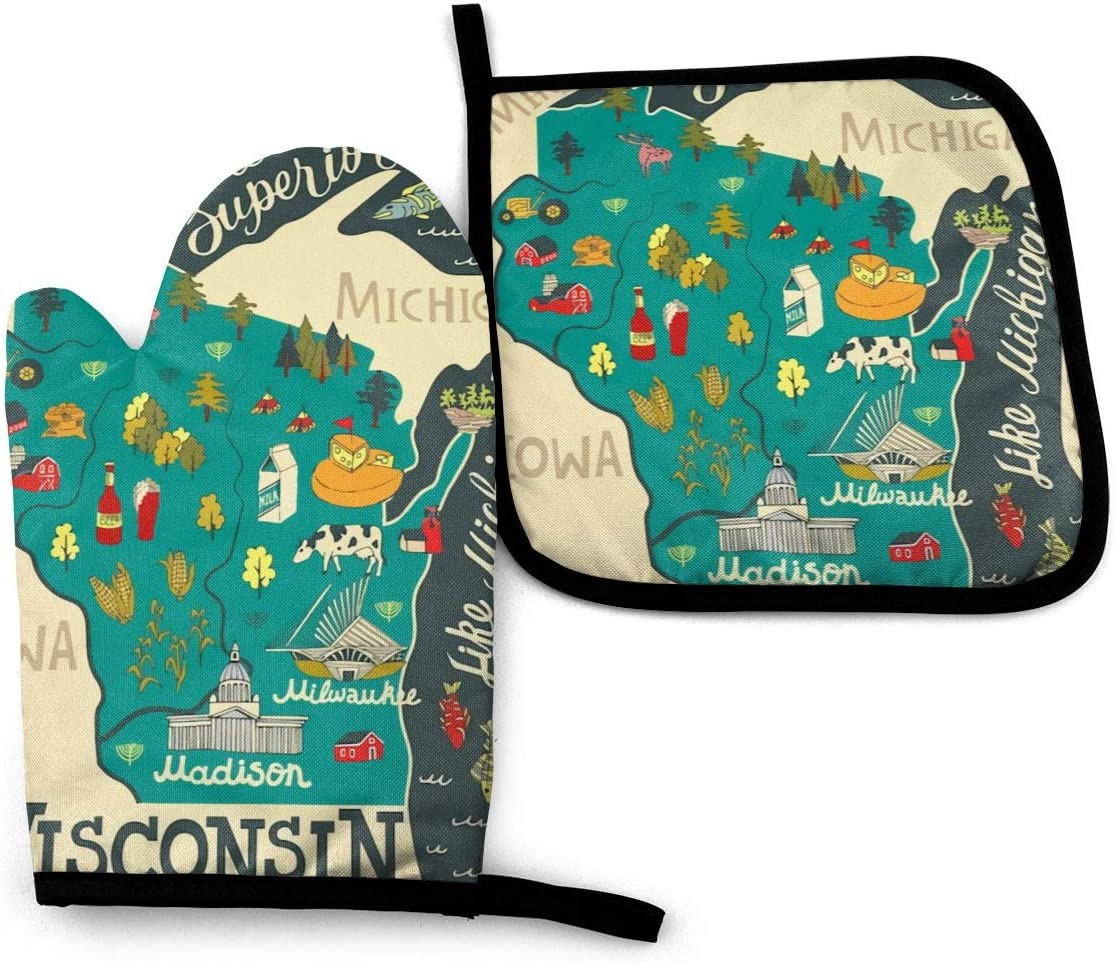 GEHIYPA Oven Mitts and Pot Holders Set,Cartoon Travel Map of Wisconsin Washable Heat Resistant Kitchen Non-Slip Grip Oven Gloves for Microwave BBQ Cooking Baking Grilling