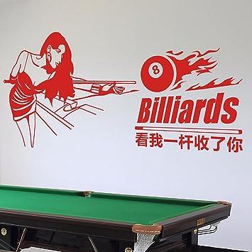 KUYIYILO Pegatinas de Pared Sala de Billar Club de Ocio Sala de Billar Snooker Pegatinas de Pared Tienda Decoraciones de Fondo Billar Chica, 260x120cm.: Amazon.es: Hogar