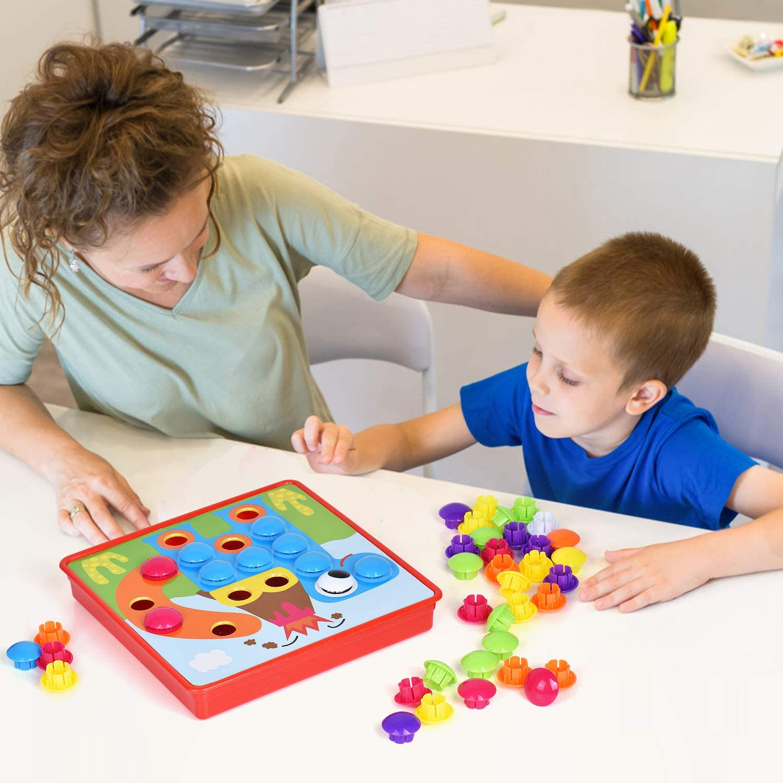 Steckmosaik mit 46 Steckperlen und 12 Bunten Steckpl/ätte Bunte Steckspielzeug Kinderspielzeug als Geschenke Ulikey Mosaik Steckspiel f/ür Kinder