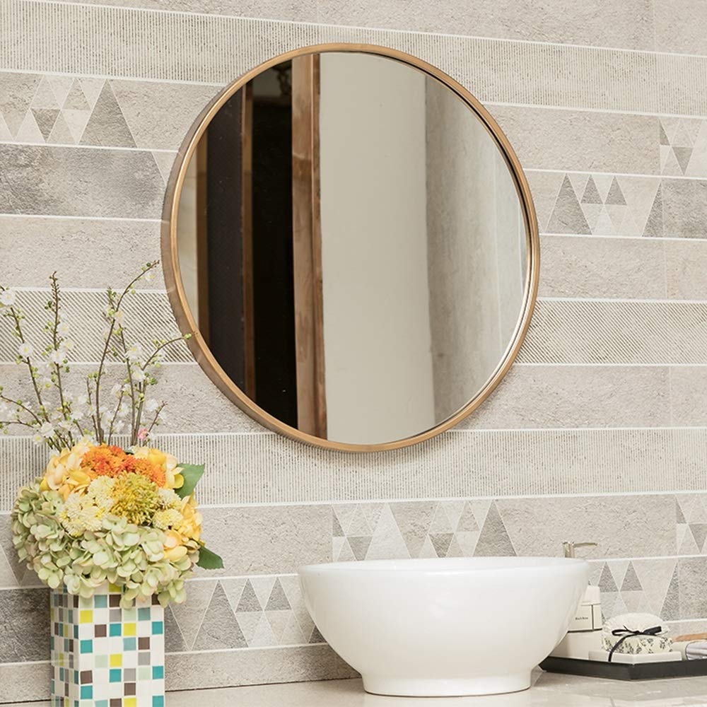 Mirror European Bathroom with Border Makeup Bathroom Wall Hanging Hair Salon Round Hotel Decorative Makeup (Color : Gold, Size : 3030cm) by Mirror (Image #4)