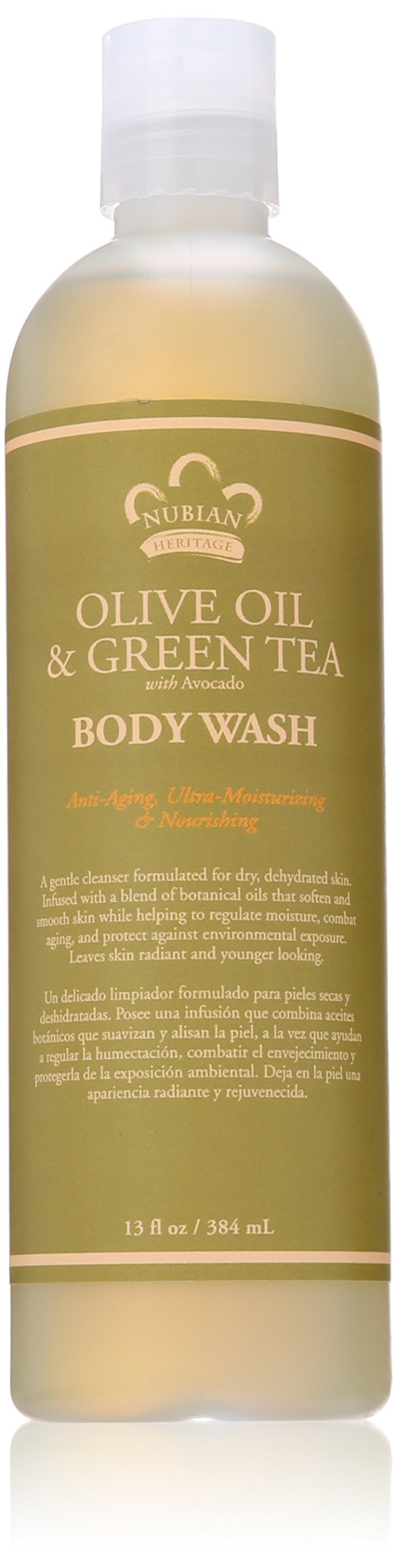 Nubian Heritage Body Wash, Olive and Green Tea, 13 Fluid Ounce