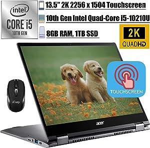 "2020 Premium Acer Chromebook Spin 713 2-in-1 Laptop 13.5"" 2K TouchscreenIPS10th Gen Intel 4-Core i5-10210U(Beats i7-8550U) 8GB DDR4 1TB SSD BacklitKB USB-C Chrome OS + iCarpWirelessMouse"