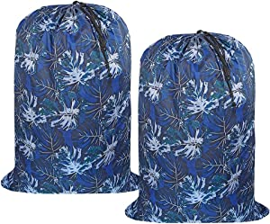 UniLiGis Washable Laundry Bag, (2 Pack) Dirty Clothes Hamper Liner with Drawstring Closure, Heavy Duty Rip-Stop Bag for Travel, Dorm, laundromat, 26x39 inches Dark Leaf Print