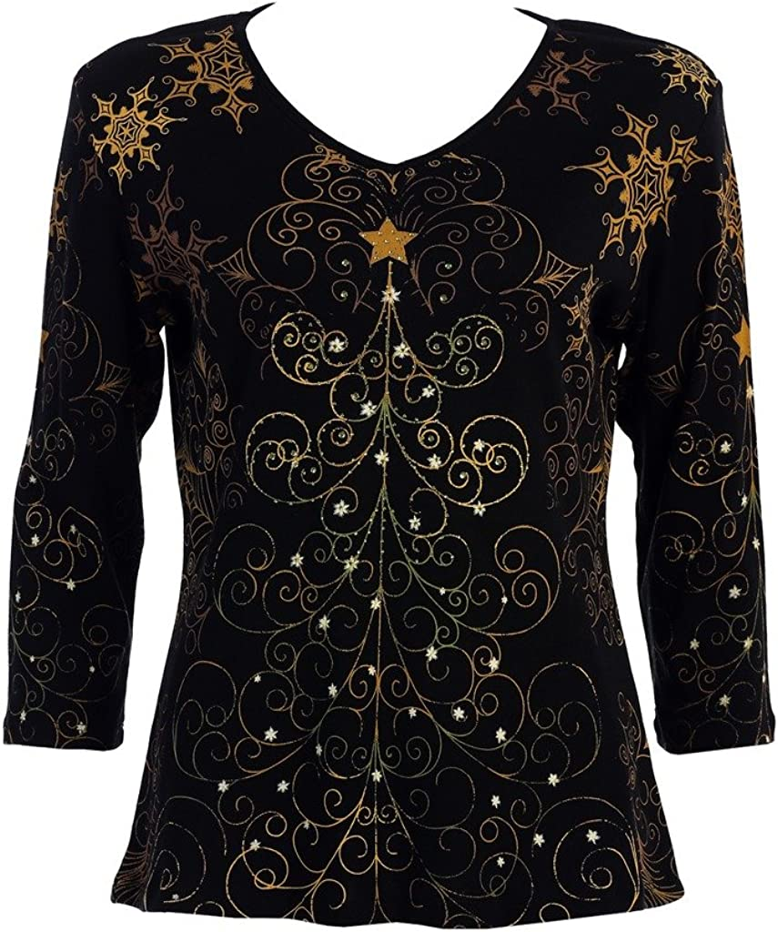 Jess & Jane Christmas Star, Cotton Top 3/4 Sleeve V-Neck Rhinestone Accents