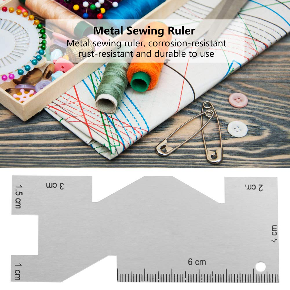 Metal Measuring Gauge Quilting Ruler Sewing Tool Accessory Suitable for Sewing Embroidery Needlework and Handicraft Processing
