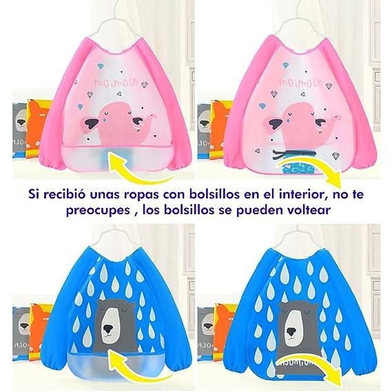 MOMOZAI 4 pcs Babero con mangas EVA Impermeable Unisex Delantal Ropa Impermeable Infantil para Pintar y Comer con Manga Larga para Bebés 6 meses a 3 años ...
