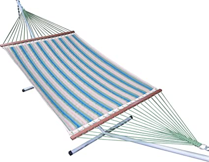 Oak N Oak Comfortable Sleeping Hanging Hammock/Quilted Hammock Swing/Outdoor Hammock Furniture for Home Patio Garden, Camping, Beach & Leisure Backyard, 55 Extra Large Wide – Forest Stripe