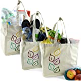 The Original Eco Friendly Washable and Reusable Grocery Shopping Tote Bags - 3 Pack - Soft Premium Heavy Duty Durable Muslin Large - 12x12x8in - Set of 3 | by Naturally Sensible