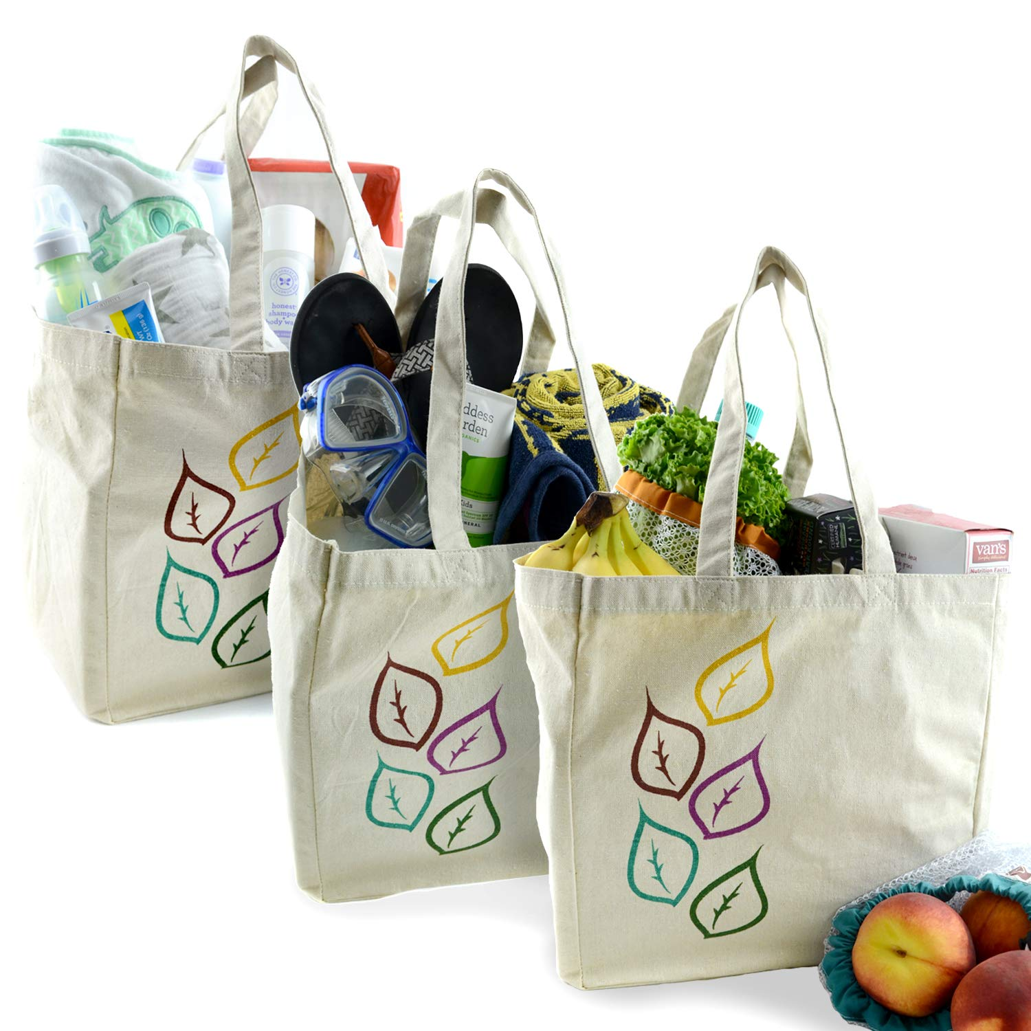dc390ab29b14 The Original Eco Friendly Washable and Reusable Grocery Shopping Tote Bags  - 3 Pack - Soft Premium Heavy Duty Durable Muslin Large - 12x12x8in - Set  ...