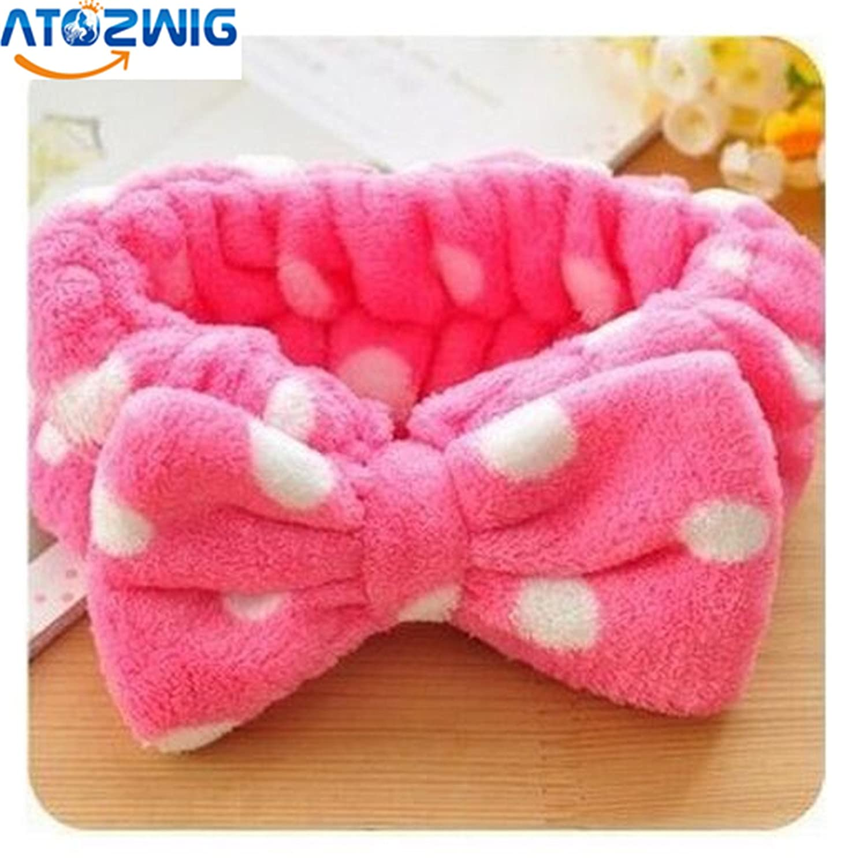 Women Girl Big Bowknot Dots Towel Hair Band Wrap Headband for Bath Spa Make Up H