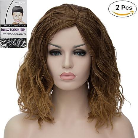 ATAYOU® Short Curly Ombre Sintético Cosplay Bob Pelucas Para Mujer Disfraz  con 1 Gorra de ff9ffb3c7985