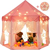 Princess Castle Play House Game Tent with Star Lights for Girls Indoor Outdoor Toy Birthday Gift for Girls