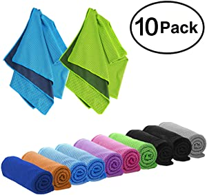 """DARUNAXY 4pack Evaporative Cooling Towels 40""""x12"""",Snap Cooling Towels for Sports, Workout, Fitness, Gym, Yoga, Pilates, Travel, Camping and More"""
