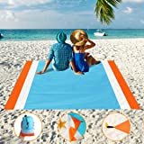 "Aitey Sand Free Beach Blanket, Waterproof Beach Mat Compact Outdoor Blanket Ideal for Picnic, Travel, Hiking, Camping and Music Festivals with 4 Stakes, 4 Corner Pockets and Bag - 82""x 79"""