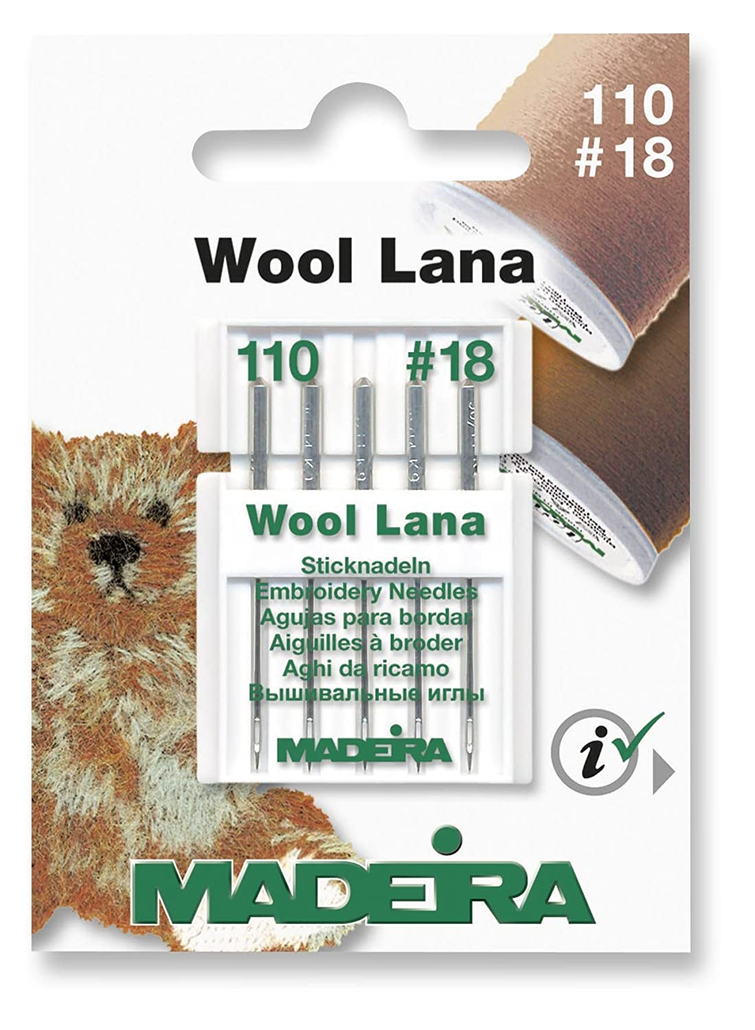 Madeira WOOL LANA Machine Needles Pack 5 Size 110/18 - For All Home Sewing Machines