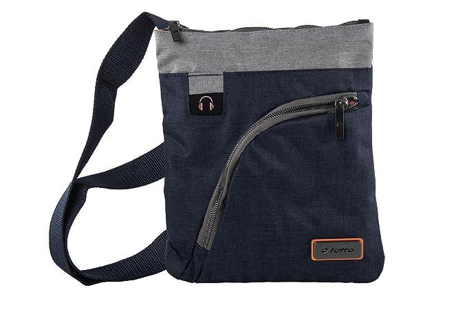 Tracolla uomo LOTTO bicolore blu grigio borsa bandoliera borsello piatto  F619  Amazon.it  Abbigliamento 542fbb89613