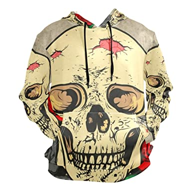 9439719a70d6 Image Unavailable. Image not available for. Color  Rose Flower Skull Hoodie  Hooded Athletic Sweatshirts 3D ...