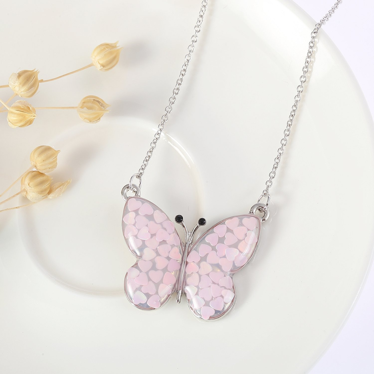 Lemonage Butterfly Necklaces for Girls Kids with Stunning Alloy Pendant Necklace, Children 3+ (Pink) by Lemonage (Image #5)