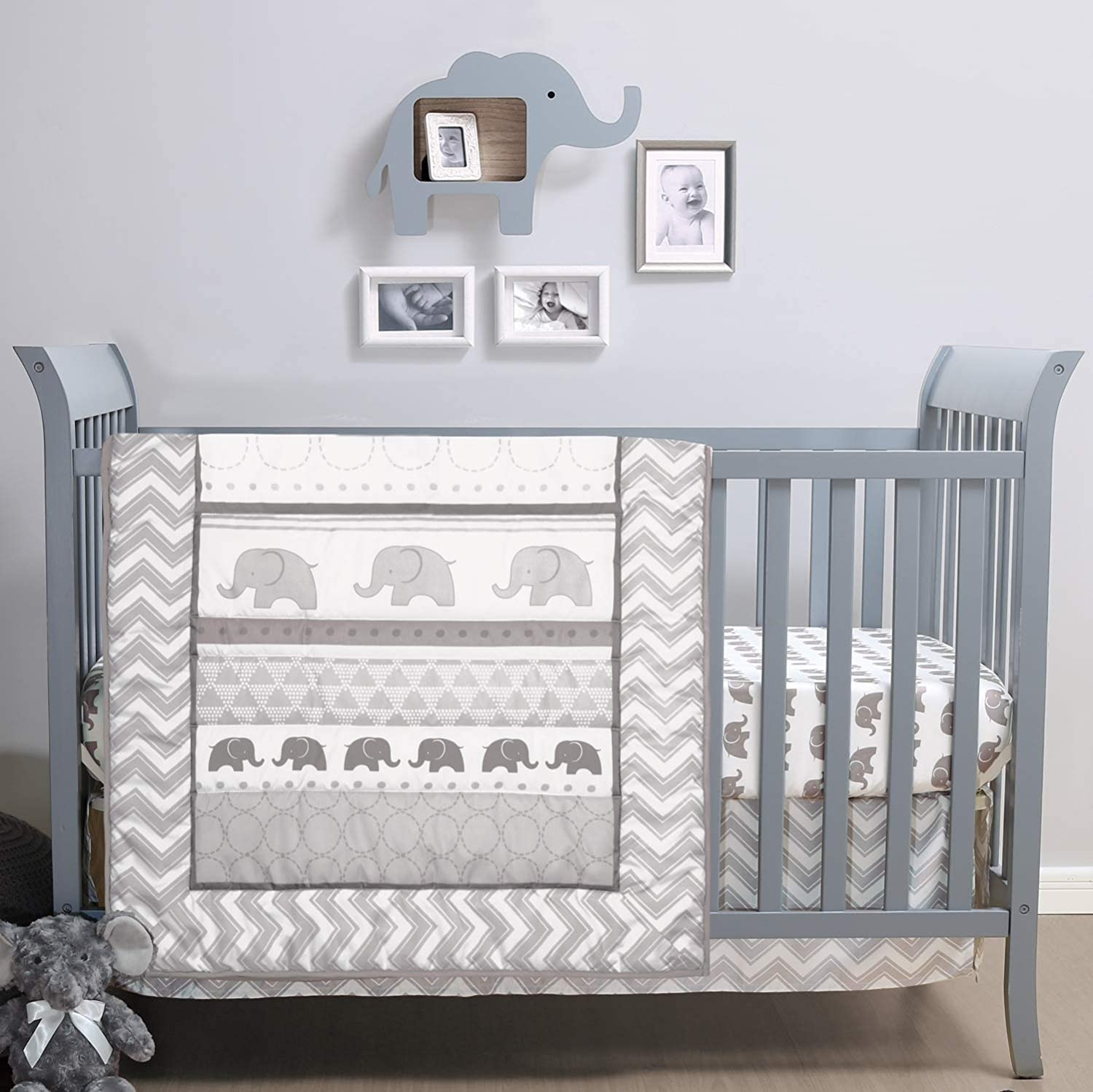 The Peanutshell Elephant Walk Crib Bedding Set | 3 Piece Nursery Set | Crib Quilt, Crib Sheet, Crib Skirt Included