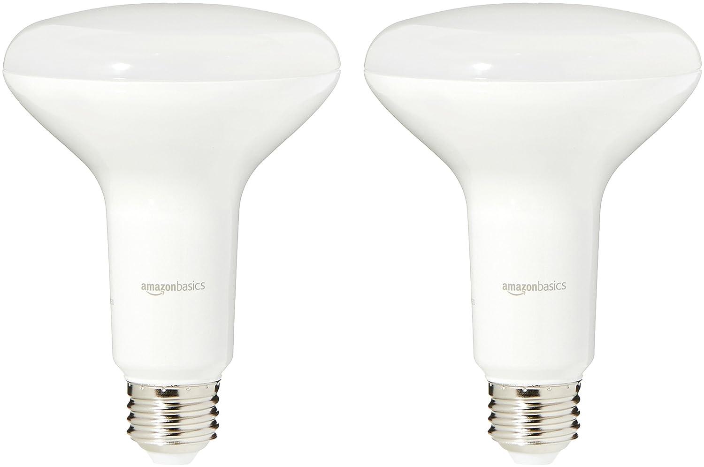 AmazonBasics 65 Watt Equivalent, Soft White, Dimmable, BR30 LED Light Bulb | 2-Pack