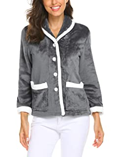 Button front long sleeve soft fleece bed jacket nightwear with side pockets