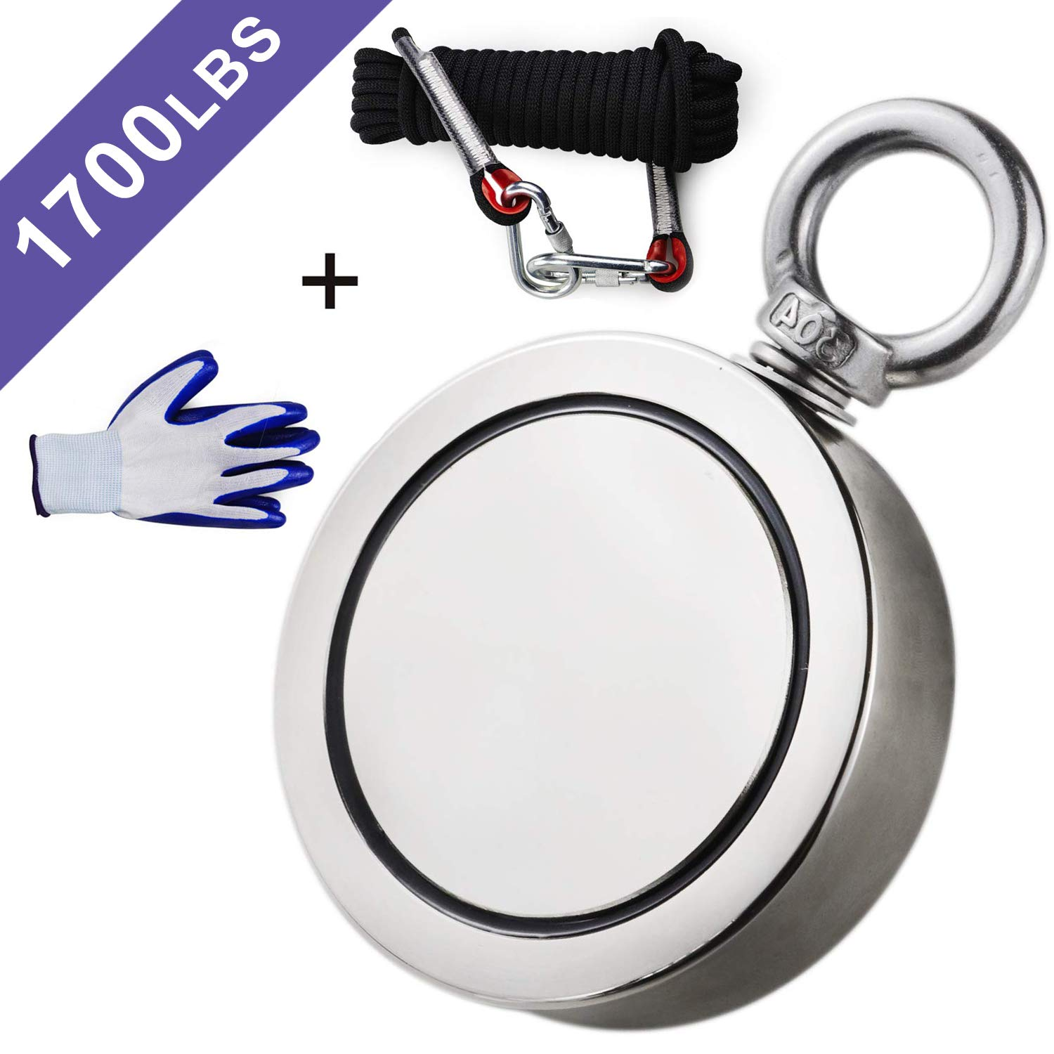 Double Sided Neodymium Fishing Magnet, Combined 1700lbs(772KG) Pulling Force, Super Strong Fishing Magnet, Diameter 3.7inch (94mm), Perfect for Retrieving in River and Magnetic Fishing