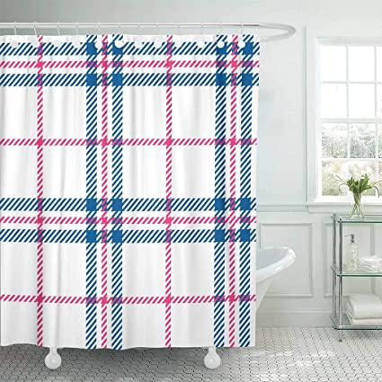 Emvency Fabric Shower Curtain With Hooks Blue Country Plaid Pink Tartan Bedclothes Breakfast Casual Check Checkered