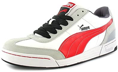 56c3b5f79511 Mens White Puma Lace Retro Court Shoes - White Red - UK SIZE 12 ...