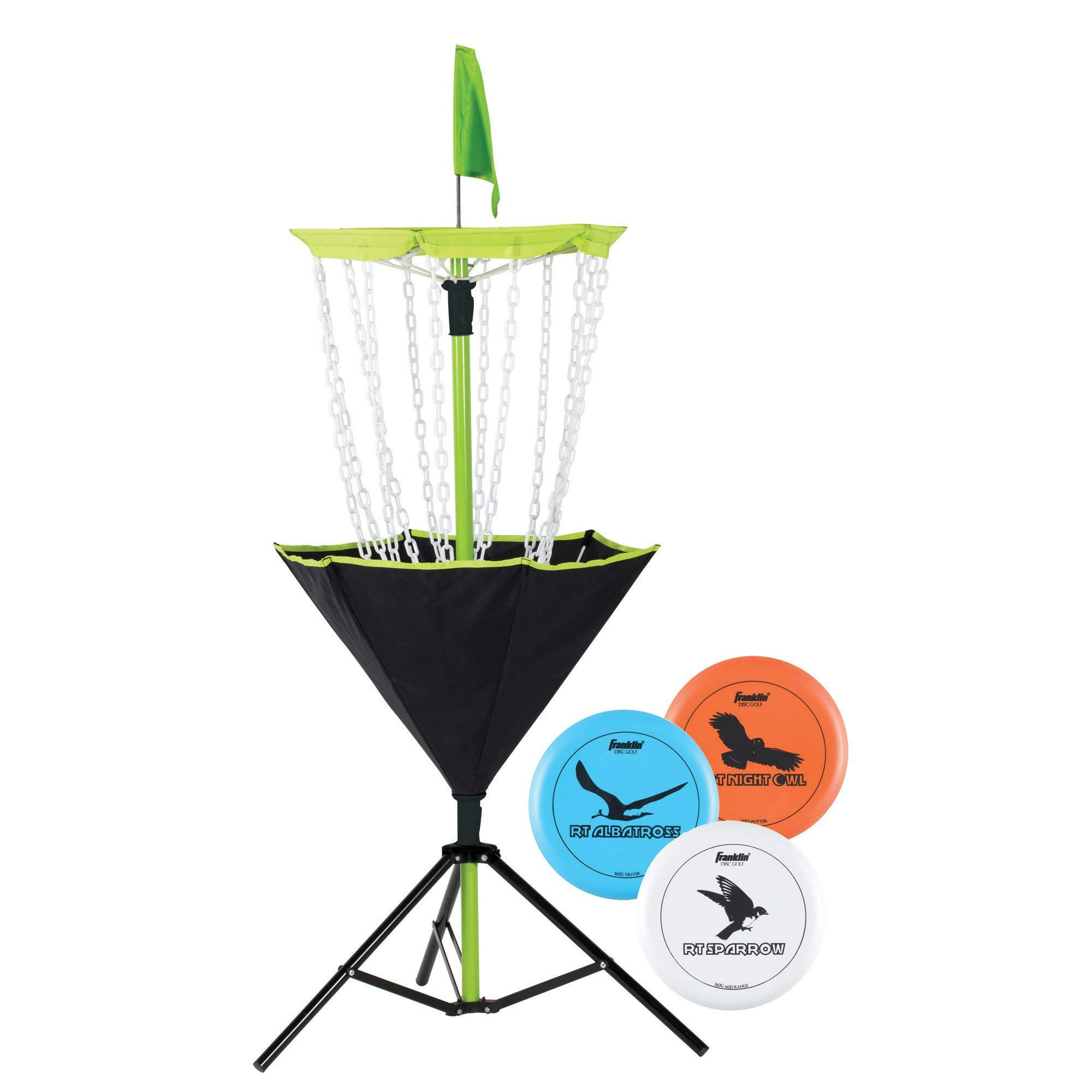 Franklin Sports Disc Golf Set - Disc Golf - Includes Disc Golf Basket, Three Golf Discs and Carrying Bag (Renewed) by Franklin Sports