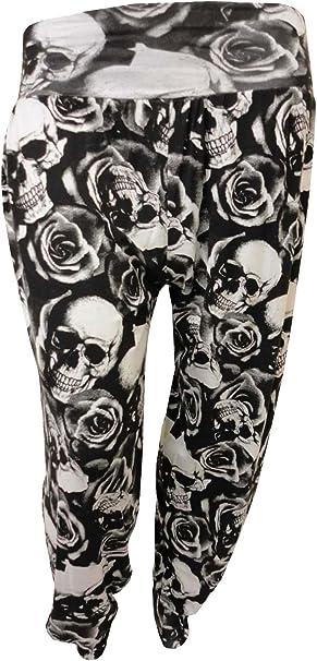 New Womens Plus Size Printed Pattern Ladies Full Long Harem Pants Trousers 12-26