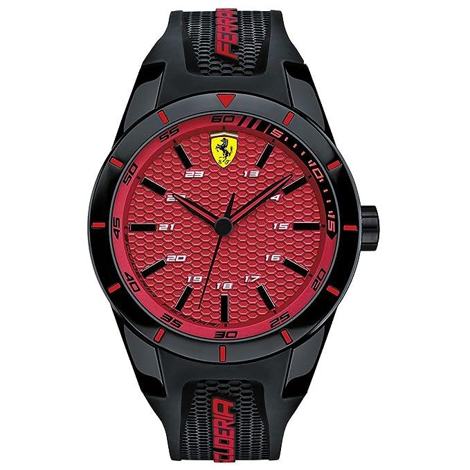 8056431af3b Amazon.com  Ferrari Men s Scuderia 0830248 Black Silicone Quartz Watch   Watches