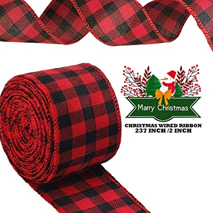 Floral Bows Craft URATOT Red and Black Plaid Burlap Ribbon Christmas Wired Ribbon Wrapping Ribbon for Christmas Crafts Decoration 236 by 1.9 Inch