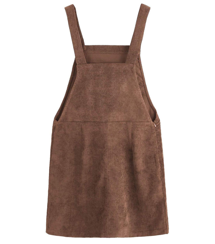 981154e0384 Amazon.com  Women Suspender Dress A-Line Strap Corduroy Pinafore Mini Denim  Overalls with Bib Pocket  Clothing