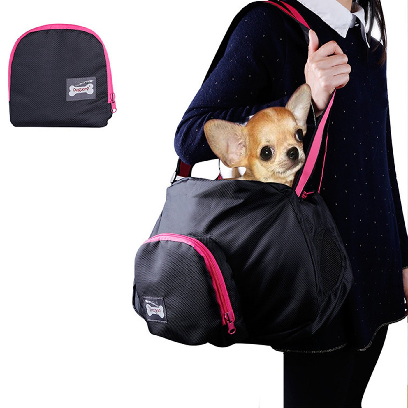 Alfie Pet by Petoga Couture - Juneau Pet Sling Carrier - Color: Black