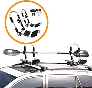 Onefeng Sports Foldable Kayak Rack, Kayak Carrier Car Roof Rack J-Shape Foldable Carrier for Canoe, SUP and Kayaks Mounted on Your SUV, Car Crossbar