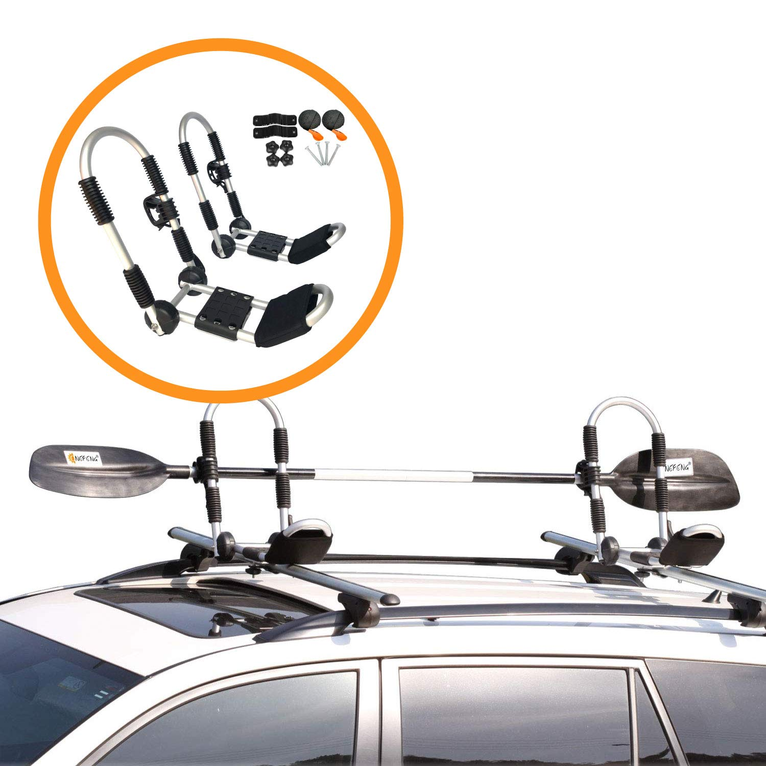 Car Crossbar Kayak Carrier Car Roof Rack J-Shape Foldable Carrier for Canoe SUP and Kayaks Mounted on Your SUV Onefeng Sports Foldable Kayak Rack