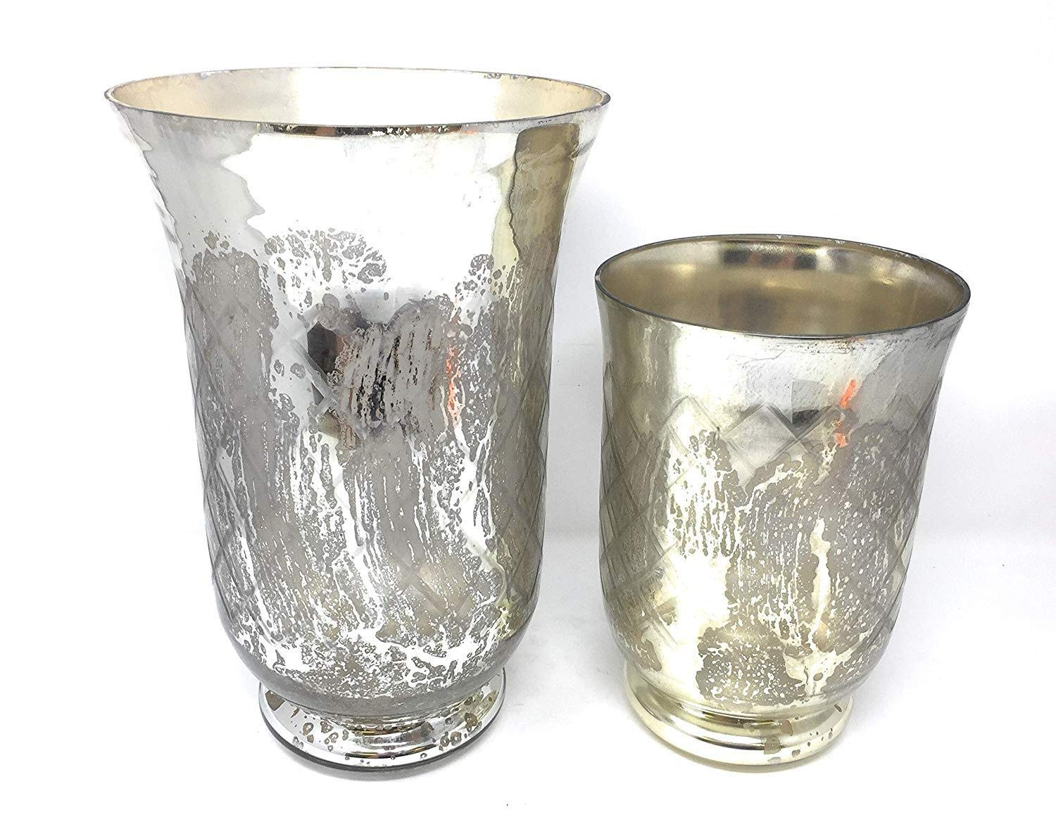 Serene Spaces Living Antique Silver Etched Hurricane Handmade Vintage-Inspired Mercury Glass Vase, Set of Small and Large by Serene Spaces Living