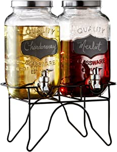 Style Setter 210838-RB 0.87 Gallon Each Glass Set of 2 Beverage Drink Dispensers with Metal Stand & Lid, 12x6x16, Clear