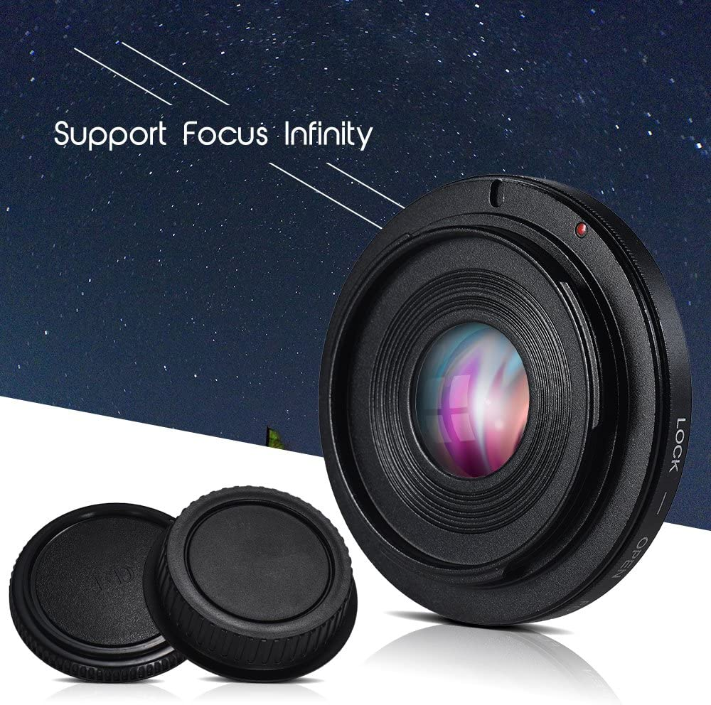 Alician for FD-EOS Lens Mount Adapter Camera Lens Adapter Ring with Optical Glass Focus Infinity FD Lens to EOS EF Mount Body for Canon Camera