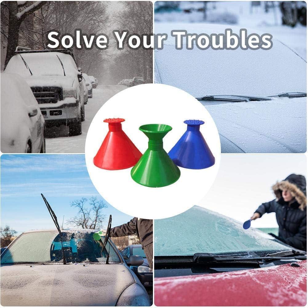 kmran Ice Scraper Magic Funnel Snow Removal Tool Car Windshield Round Cone-Shaped Snow Scraper Blue 1Pack