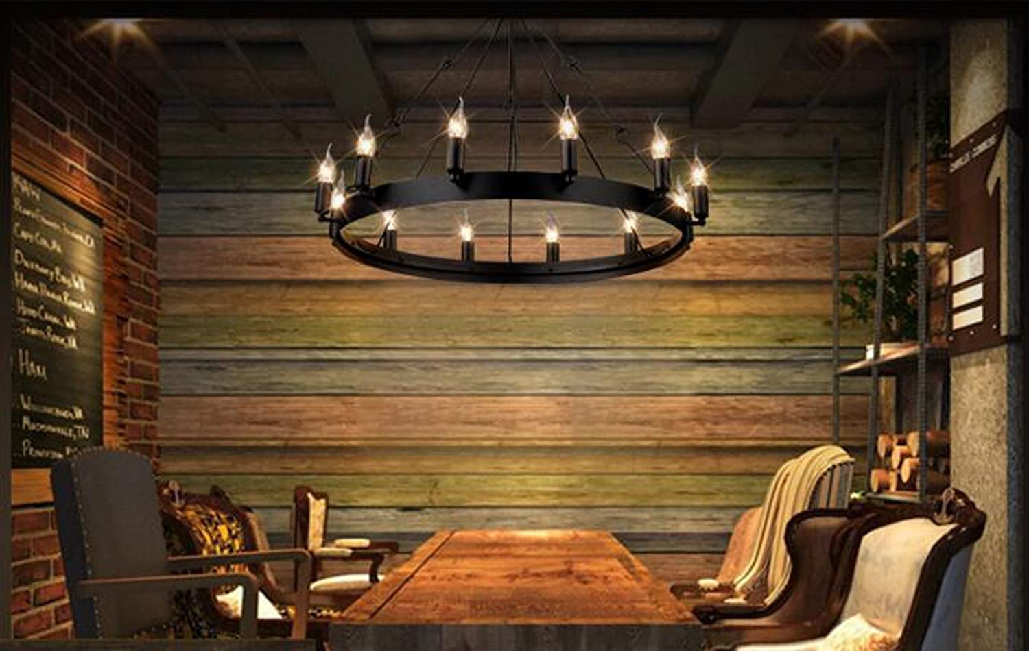 Aiwen classical iron chandelier single deck simple pendant light aiwen classical iron chandelier single deck simple pendant light celling lamp bulbs not included black 18 lamp holders amazon arubaitofo Images