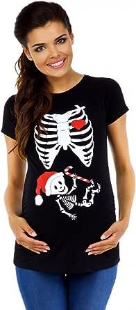 Zeta Ville - T-shirt Camiseta Premamá Esqueleto Bebé X-Rayos- para mujer - 049c (Negro, EU 36/38)