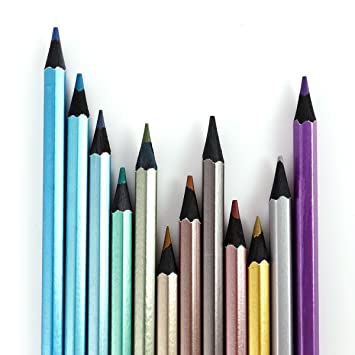 12stk METALLIC Buntstifte Farbstifte Malstifte Künstlerfarbstifte