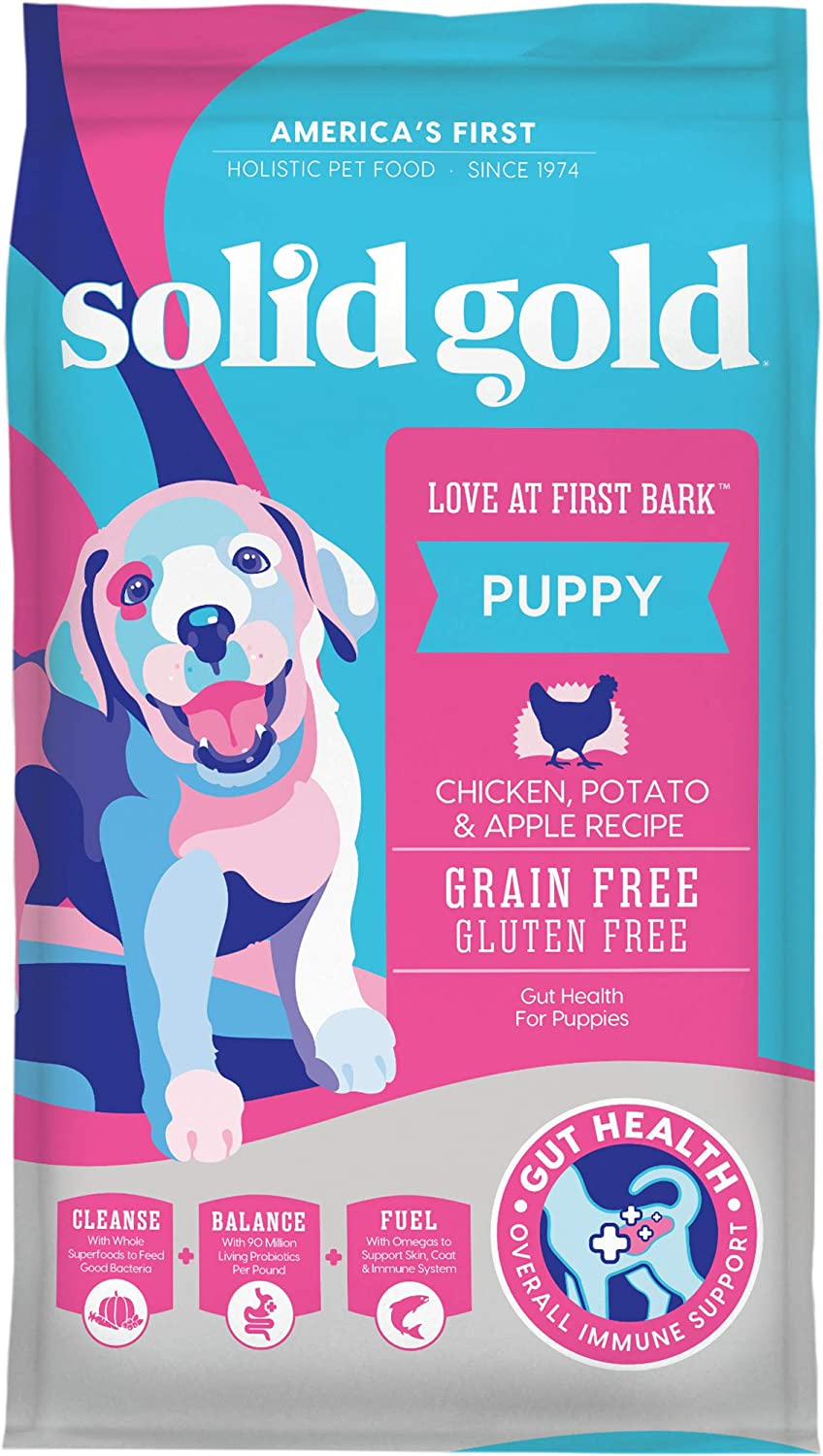 Solid Gold - Love at First Bark - Natural Dog Puppy Food - Holistic Superfoods Rich Food for Puppies of All Sizes & Breeds 4lbs