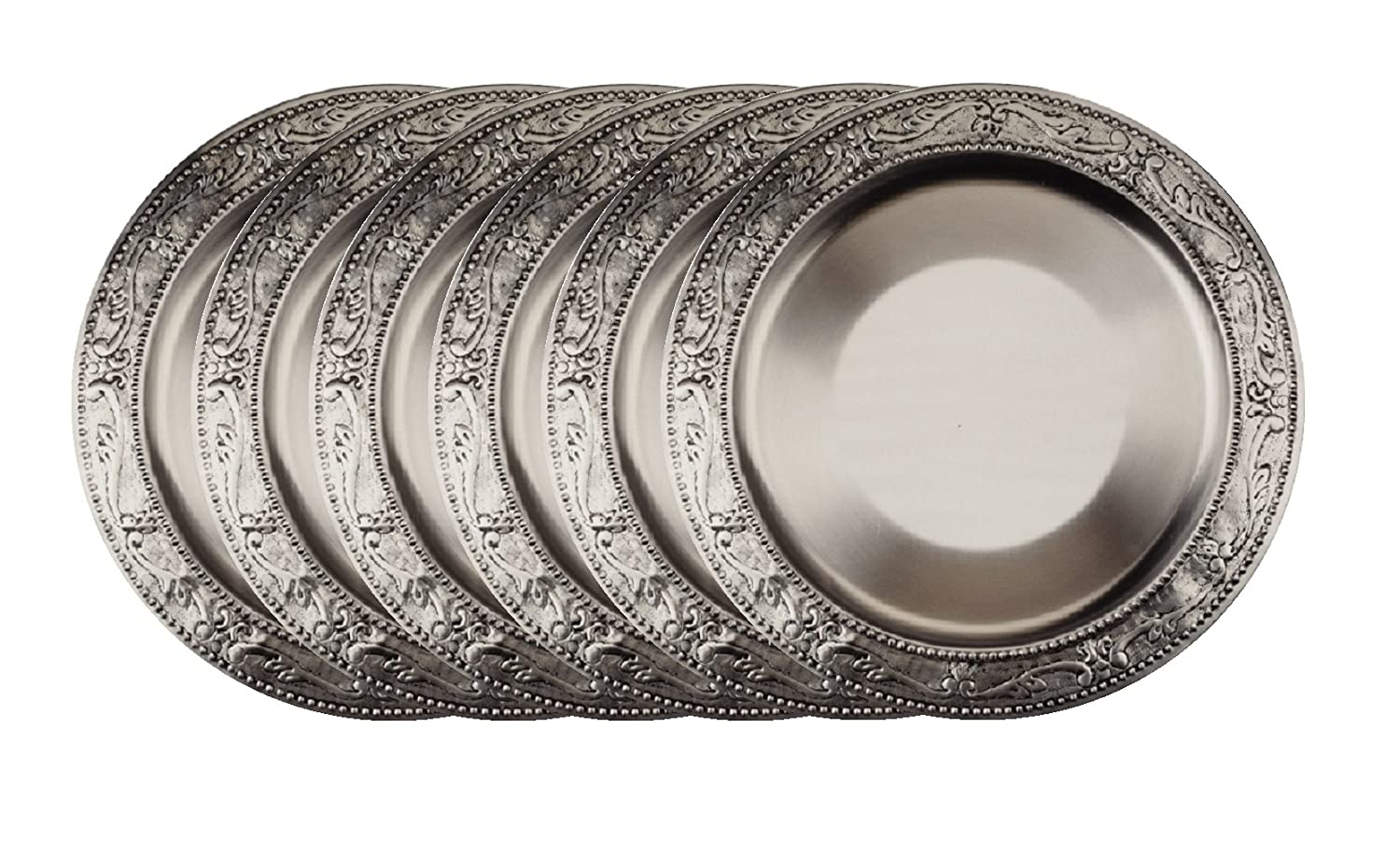 Embossed Victorian Antique Pewter Charger Plates Set of 6