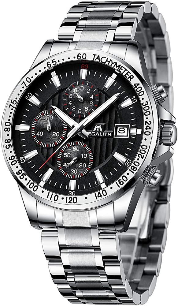 Relojes de Hombre Reloje Grandes de Pulsera Military Negro Cronógrafo Impermeable Acero Inoxidable Reloj para Hombres Calendario Analógico: Amazon.es: Relojes